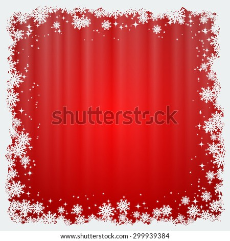Christmas and New Year red blurry vector background with stars and snowflakes - stock vector