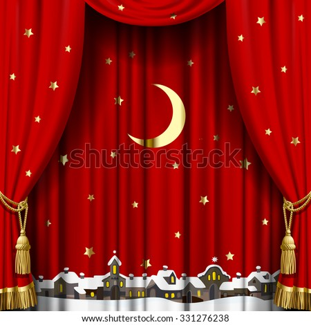 Christmas and New Year red curtain with a town skyline in snow down, gold moon and stars. Square theater and Christmas background. Artistic poster. Vector illustration - stock vector