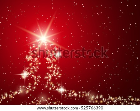 Christmas and New Year red vector background with abstract shining fir tree silhouette