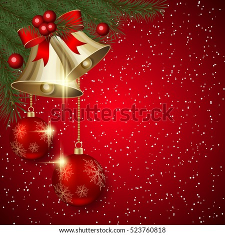 Christmas and New Year red vector background with bells, luxury balls and fir branches