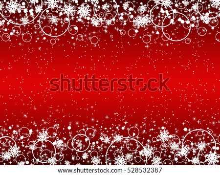 Christmas and New Year red vector background with snowflakes, stars and rings.