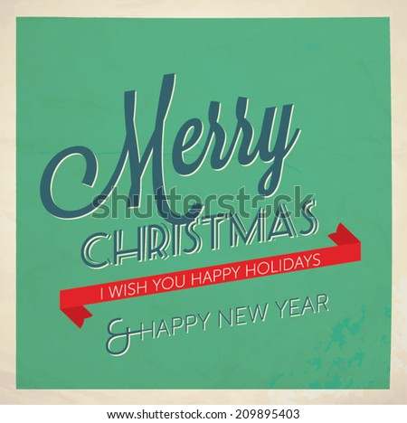 Christmas and New year retro greeting card - vector illustration.