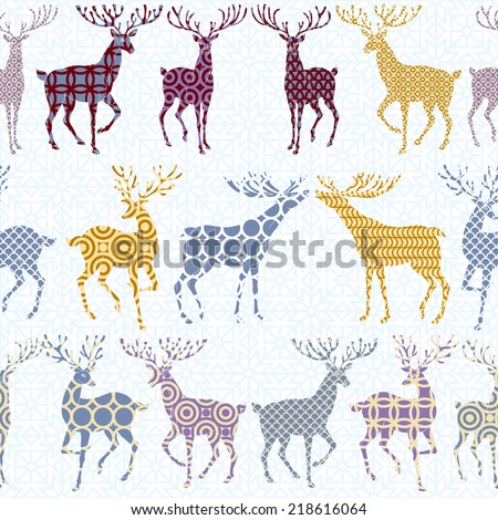 Christmas and New Year retro style background, xmas seamless pattern and wrapping paper, 1950s, 1960s, 1970s fashion style with deer and ornaments,  wallpaper, artistic, vector layout for design  - stock vector