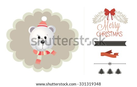 Christmas and new year retro vector design element collection. Bear head