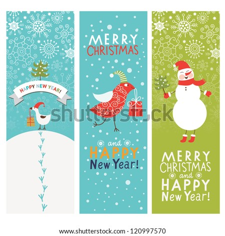 Christmas and New Year's banners - stock vector