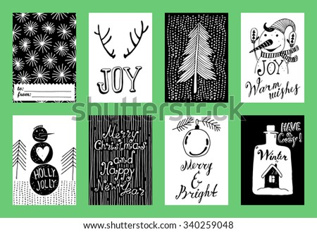 Christmas and New Year's Cards Collection. Set of Winter Holiday card templates. Christmas Posters set. Tags. - stock vector