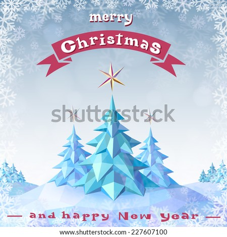 Christmas and New Year's Greeting Card  - stock vector