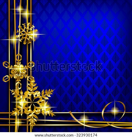 Christmas and New-Year's greeting card with blue background and gold foil snowflakes. Vector illustration - stock vector