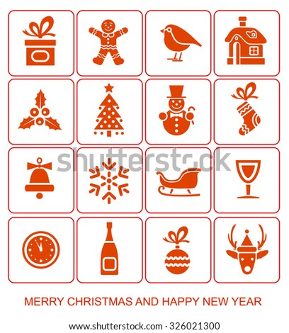 Christmas and New Year's Icons - stock vector