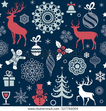 Christmas and New Year's Seamless Pattern