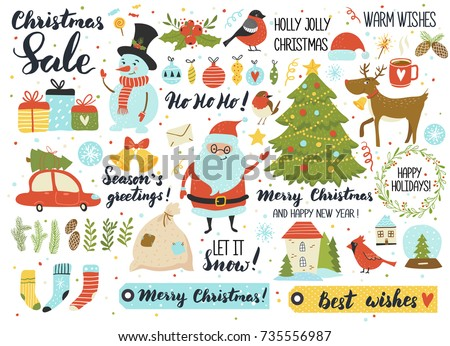Christmas and New Year's set, hand drawn elements - calligraphy, Santa, snowman, deer, fur tree,  wreath and other. Perfect for web, greeting card, poster, tag, sticker kit.Vector illustration