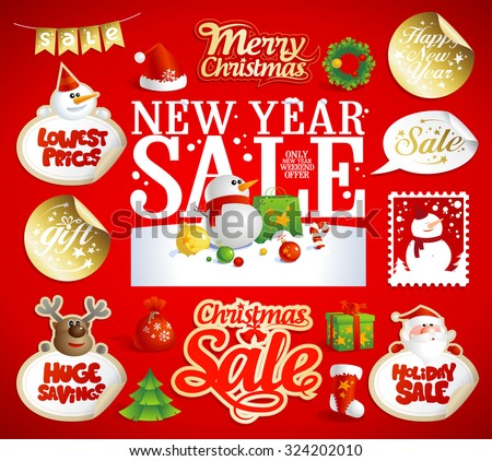 Christmas and New year sale designs, banners, stickers and coupons set, vintage style. - stock vector