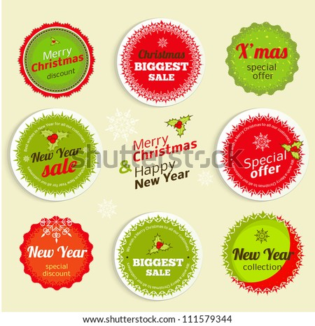 Christmas and New Year Sale Labels - stock vector