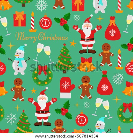 Christmas and New Year  seamless background.