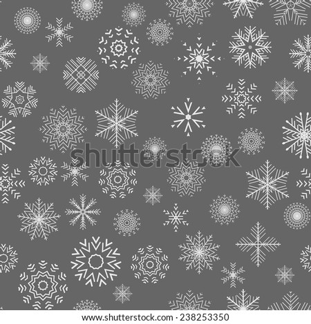 Christmas and New Year seamless gray pattern. Snowflakes. Vector Illustration - stock vector