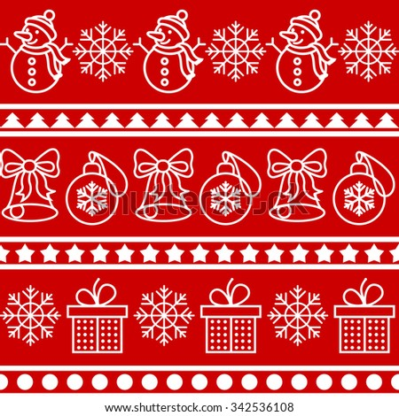 Christmas and New year seamless horizontal pattern with snowman, snowflake, bells, gift, star. Vector illustration - stock vector