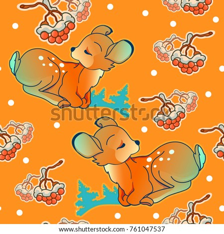Christmas and new year seamless pattern with cute fawn. Pastel colors. Hand drawn doodle vector illustration. Used for print packing, background, wallpaper, wrapping.