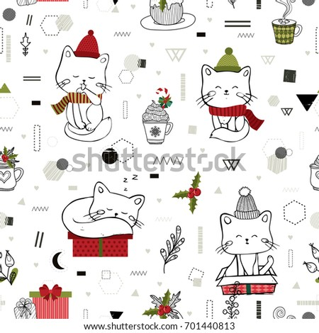 Christmas And New Year Seamless Pattern With Hand Drawn Cat All Elements Are