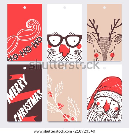 Christmas and New Year set  of vector labels - stock vector