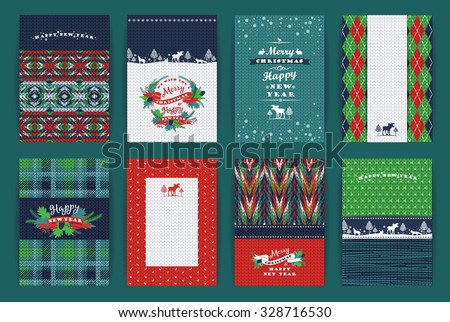 Christmas and New Year Set. Plaid and knitted backgrounds. Vector Design Templates Collection for Banners, Flyers, Placards, Posters and other use. - stock vector