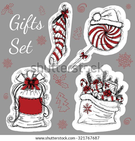 Christmas and New Year set with gifts, design collection with vintage objects, hand drawn illustration