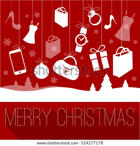 Christmas and New Year shopping greeting card vector template for sale, clearance shopping with most popular retail store gift item icons.