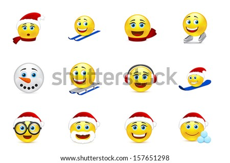 Christmas and New Year smile winter collection - stock vector