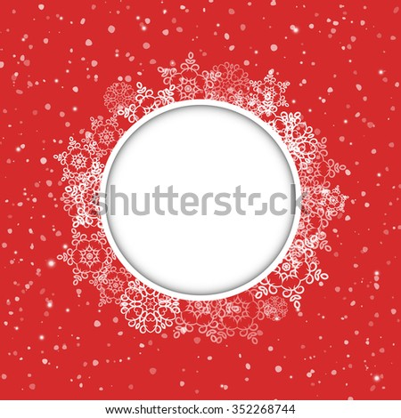 Christmas and New Year snowflakes round frame. Vector illustration - stock vector