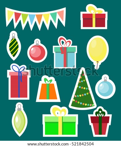 Christmas and New year sticker set.