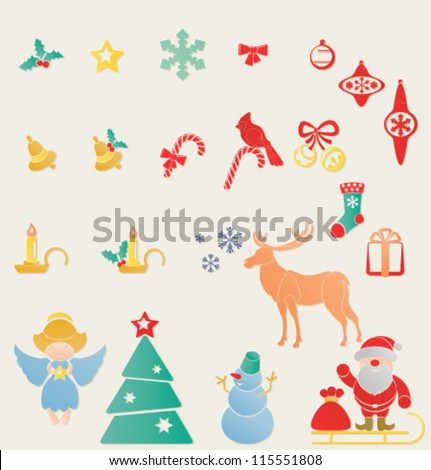 Christmas and New Year symbols set. Letterpress stamp looks like for decoration. Santa Claus with sleight, snowman, angel with star, candle, holy berry, jingle bell, deer, cardinal bird, snowflake/ - stock vector