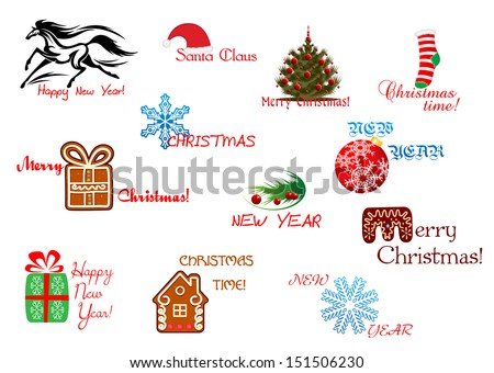 Christmas and New Year symbols with headlines. Jpeg (rasterized) version also in gallery - stock vector