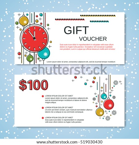 Christmas and New Year thin line art style gift voucher vector template