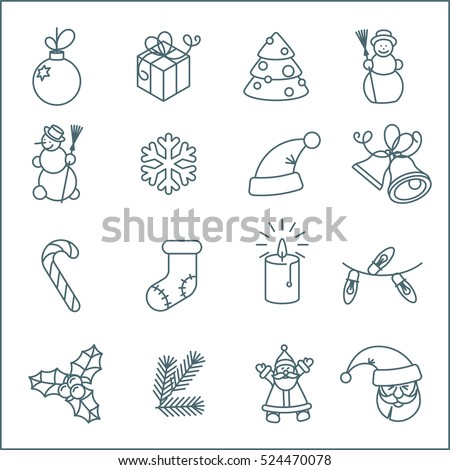 Christmas and New Year thin line flat design vector icon set. Christmas tree, snowflakes, Jingle Bells, candle, Santa, gift box and holly design elements decoration.