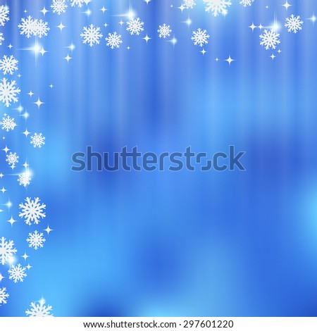 Christmas and New Year vector background with snowflakes and stars. Greeting or invitation card template. - stock vector