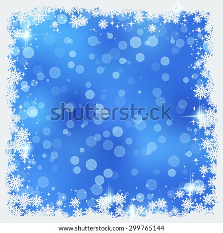 Christmas and New Year vector background with snowflakes and stars. Greeting or invitation card template - stock vector