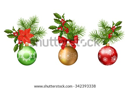 Christmas and New year vector decorations. Holiday elements - stock vector