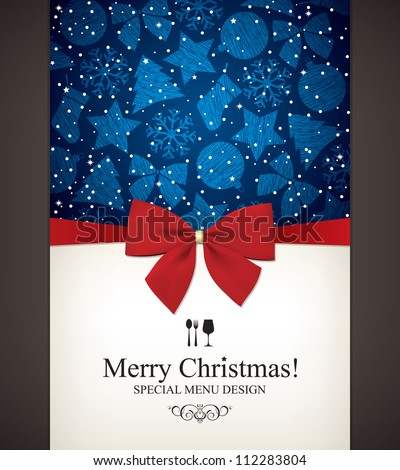 Christmas and New Year  Vector greeting card - stock vector