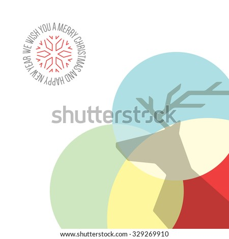 Christmas and New Year. Vector greeting card with Christmas Reindeer - stock vector