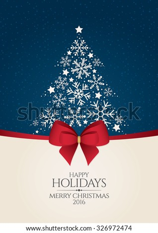 Christmas and New Year. Vector greeting card with Christmas tree - stock vector