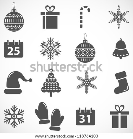 Christmas and New Year vector icon set