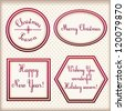 Christmas and New Year vintage elegant stylized beige labels with red satin border - Vector set - stock photo