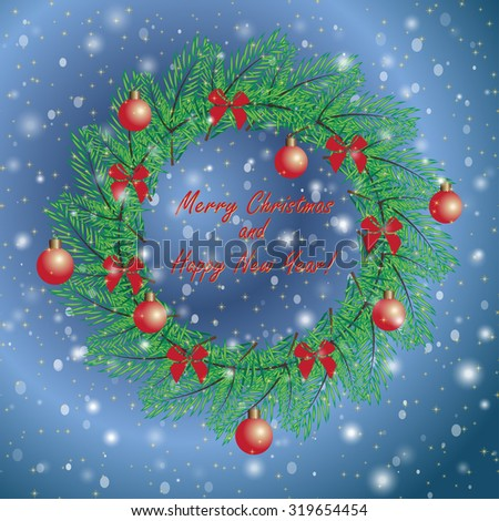 Christmas and New Year vintage greeting cards with holiday symbol wreath on blue snowing sky background. Elegant winter decor pattern for your design. Easily editable vector illustration - stock vector