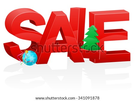 christmas and new year volumetric red inscription sale vector illustration isolated on white background - stock vector