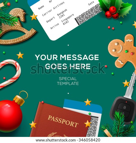 Christmas and New Year, winter vacations and holidays, vector illustration. - stock vector