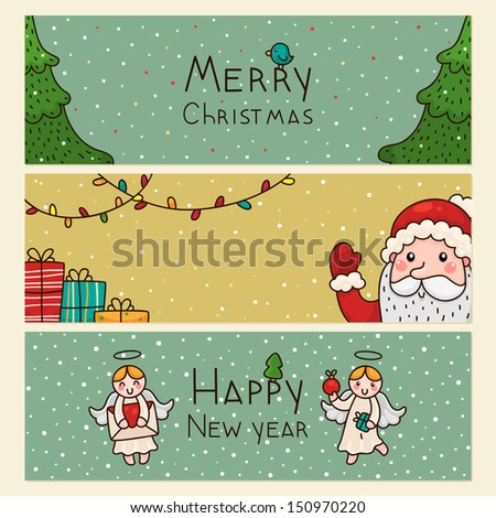 Christmas and new years horizontal banners