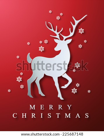 Christmas and New Years red background with cutout paper Christmas Deer.  - stock vector