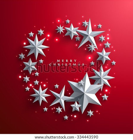 Christmas and New Years red background with frame made of cutout paper stars.  - stock vector