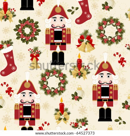 Christmas and New Years seamless pattern - stock vector