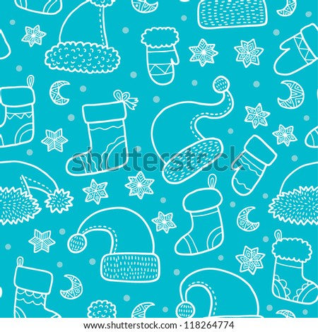 Christmas and New Years seamless pattern background with santa hats and socks and mittens