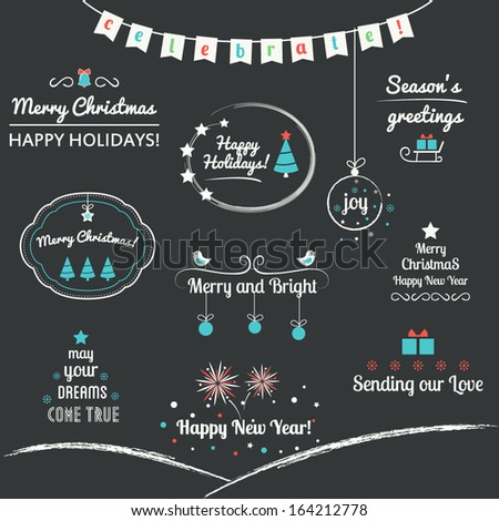 Christmas and Winter Holidays Design Elements. Typography and Calligraphic Style - stock vector